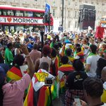Its going down in London today.Zimbabweans and friends of Zimbabwe speaking up against the GrandPresident #ThisFlag https://t.co/TpI45U8aky