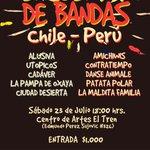 Hoy es el gran Encuentro de Bandas Chile-Perú a sólo $1.000 en Centro Cultural De Artes El Tren #Arica https://t.co/EUHijoXNf9