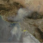 Smoke and ash from #SandFire across #LosAngeles today. Image fresh from MODIS. https://t.co/j9q2XDaDW3