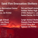 #LAPDNEWS: Evacuation Shelters for the #SandFire Incident. Follow @LACo_FD @LACoFDPIO @Angeles_NF for updates. https://t.co/nJTeqVa8dk