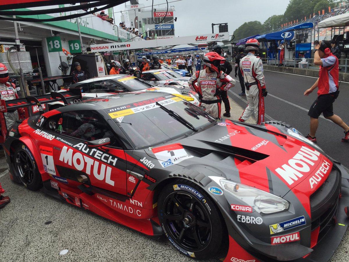#SuperGT 決勝日朝のフリー走行開始。 1号車も元気にコースインしていきました!#Nissan…