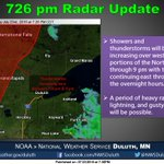 Showers & storms increasing this evening over western areas of the Northland. #mnwx #wiwx https://t.co/vJilhVpzQa