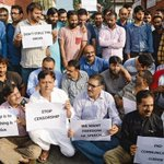 Journalists in Kashmir protest in Srinagar against the Government of Indias crackdown on the media esp newspapers https://t.co/Sntq9m5dkC