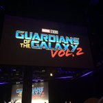 New logo for #GuardiansoftheGalaxy vol2 as James Gunn takes the stage #MarvelSDCC https://t.co/xmH2WZuczu
