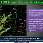 Storms moving into western areas of the Northland late this evening. #mnwx https://t.co/QewADoFvQ7
