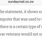 "According to @Hon_Kasukuwere, that statement cant be from ""real"" war vets because it was typed. https://t.co/m4dHPdky4y"