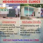 AAPInNews: Dispensary VS Mohalla Clinics AAP Government Savings = ₹4.80 crore x1000 Clinics https://t.co/nEb0u384y9