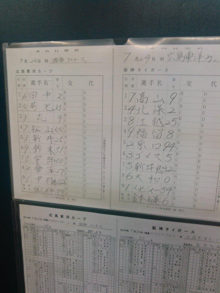 広島戦のオーダーです。鳥谷がスタメンから外れました。連続フルイニング出場が止まります。
