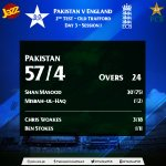 Start of Play - Day 3: Pakistan 57/4 (24 Ov) #ENGvPAK #DunyaKoBataaDo https://t.co/EL0vSkPu78""