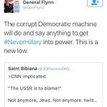 Tweet from Lt. Gen. Flynn (Trump surrogate, VP short list, RNC speaker) and tweet he quoted in it (h/t @BuzzFeedBen) https://t.co/Nf8QRK7Zpz