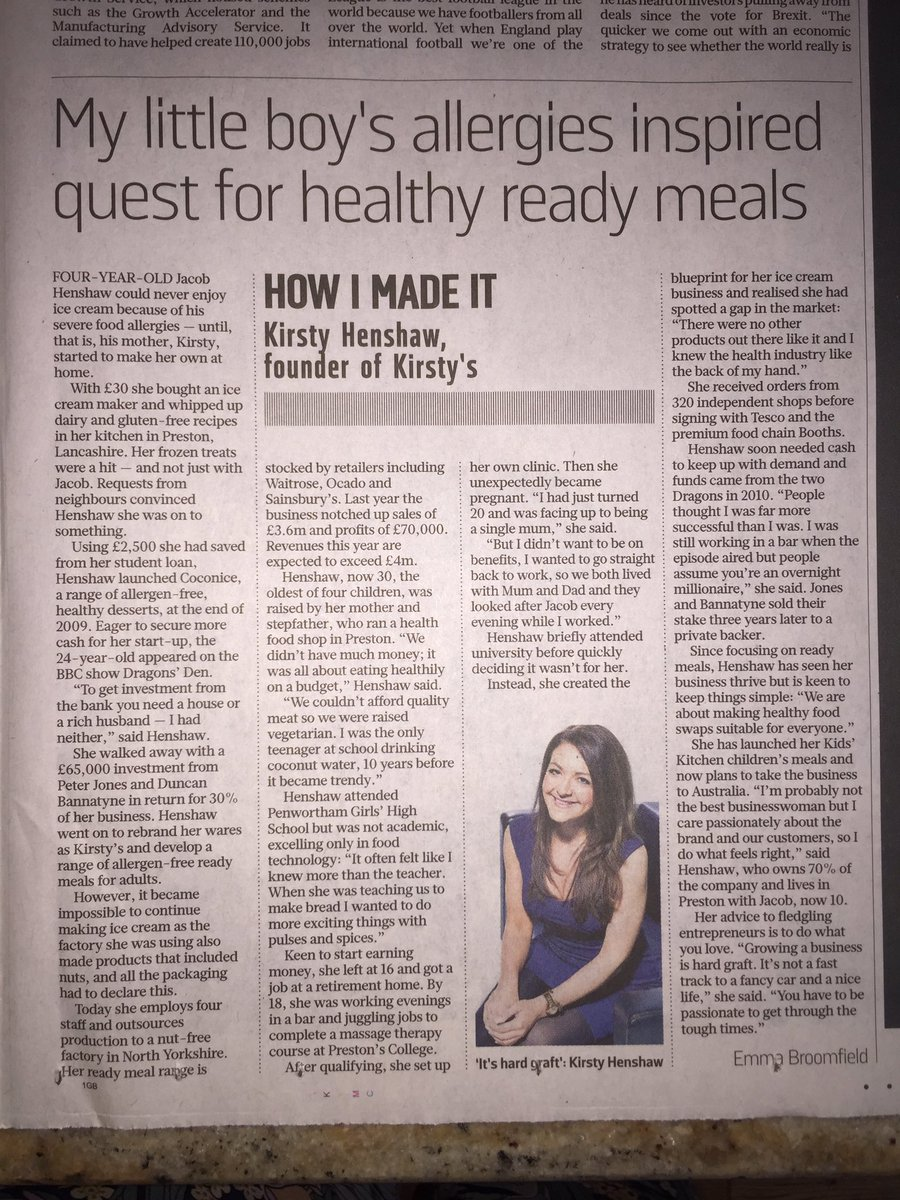 Nice piece in @thesundaytimes today about my business @Kirstys_ ☺️ #DragonsDen #entrepreneur #WorkHardPlayLater xx https://t.co/rmps0XEwHp