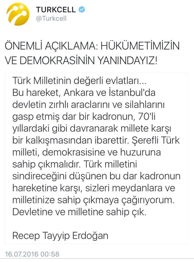 Markaların DARBE karnesi. Darbeye ilk dur diyen marka? @Turkcell saat: 00:58, TT: 03:59, Vodafone: 18:18 (21 Temmuz) https://t.co/utywmEKZ0A