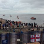 Lifeboats from @FleetwoodRNLI @LythamRNLI @RNLIBlackpool and Barrow approach the station https://t.co/3Qk4woz731
