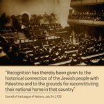 #OnThisDay: League of Nations recognized Jewish peoples historical connection w/ #Palestine https://t.co/h5ZPt5ZaCx https://t.co/fPbYf1cU6E