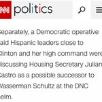 CNN reporting Julian Castro as a possible replacement to Debbie Wasserman Schultz. https://t.co/NWNOndC3b0