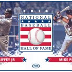 HALL OF FAMERS! Congrats to the 2016 National Baseball Hall of Famers Ken Griffey Jr & Mike Piazza! #HOFWKND https://t.co/reLJb3yQHA