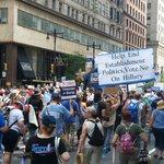 """Thousands marching through downtown Philadelphia, chanting """"Hey, hey! Ho, ho! HRC has got to go!"""" #DNCinPHL https://t.co/s8ldCHqVSQ"""
