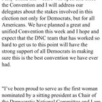 NEW: Debbie Wasserman Schultz says shell resign as DNC chair at the end of the convention. https://t.co/c9PTCkGeXH