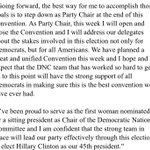 #DNC Chair Debbie Wasserman Schultz announcement that shes stepping down at the end of the #DNCinPHL @nbcwashington https://t.co/eacagsIRdV