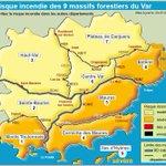 Lundi 25 juillet 2016, 5 massifs forestiers du #Var en risque incendie SÉVÈRE 🔶 : infos sur https://t.co/yyAeZVBkch https://t.co/fEtVai31e9