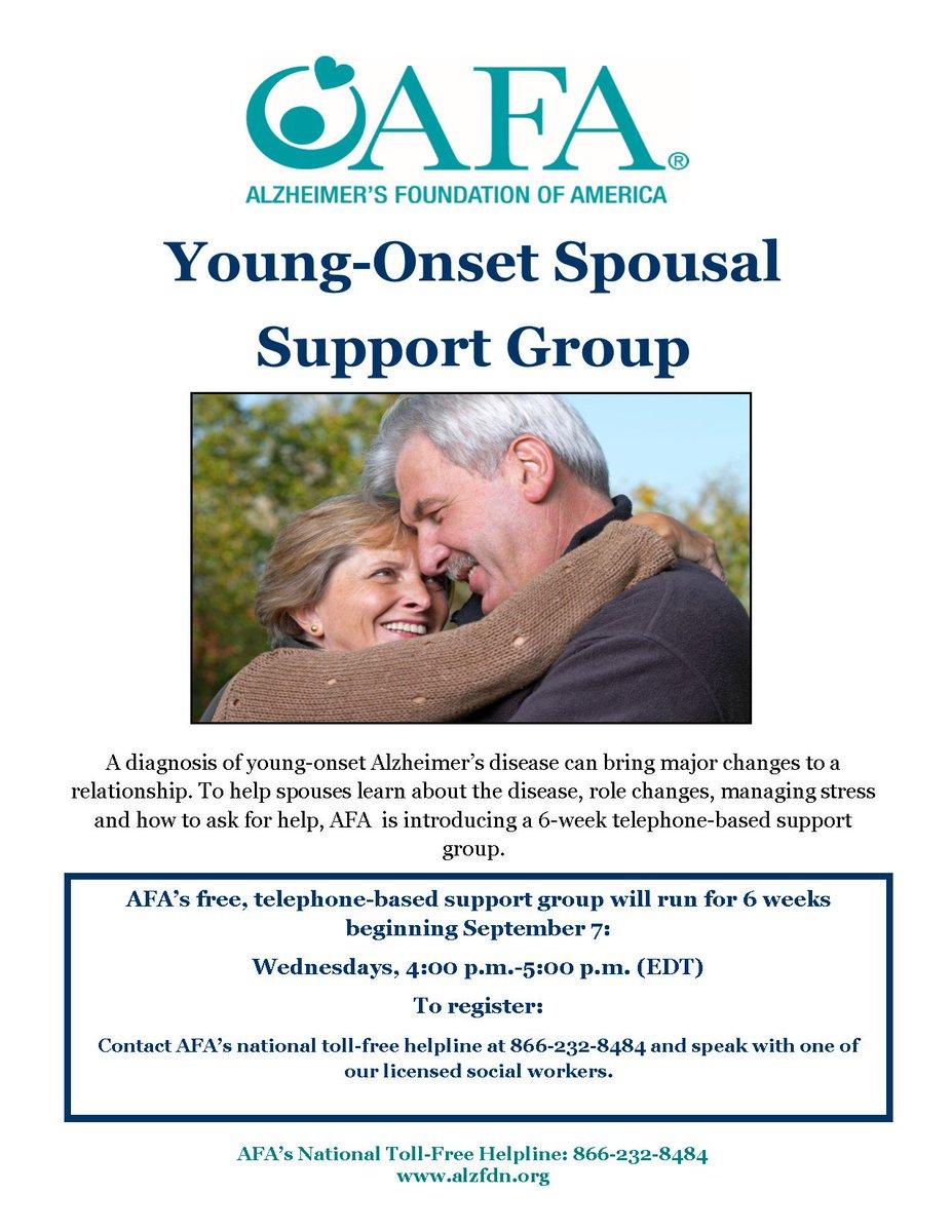 Starting September 7, our new phone-based support group for spouses of ppl w/young-onset #Alzheimer's. https://t.co/efMUdHh3z9