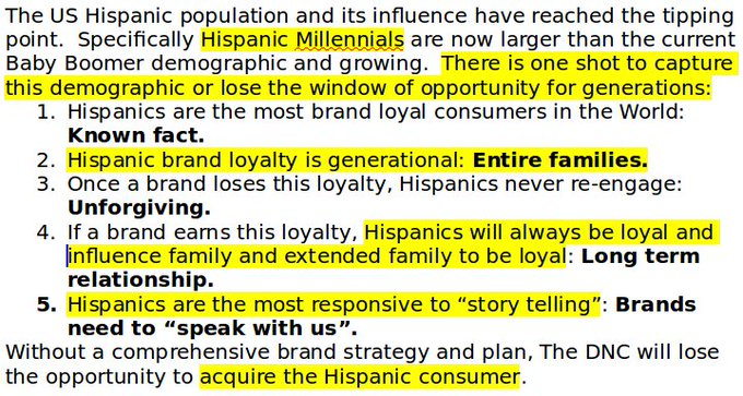 #DNCLeak: DNC strategy to 'capture' hispanic millenials and their families for a generation https://t.co/CrBZPHhJfT