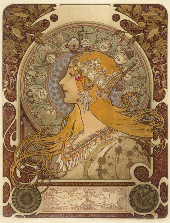 "Happy Birthday to Alphonse Mucha, born in 1860. His 1896 print, ""Zodiac"" in our collection: https://t.co/1j7agXPPOj https://t.co/jLUTYq8lDB"