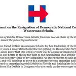 Hillary Clinton statement on the resignation of DNC head after collusion scandal emerging from WikiLeaks #DNCLeak https://t.co/fL5uZMGEj1