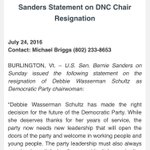 Sanders statement on DWS resignation https://t.co/Itovjr8ycw