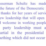 """Sanders statement on DWS resignation... Says she """"made the right decision for the future of the Democratic Party"""" https://t.co/RzYMXEtlNd"""