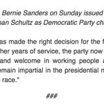 Sanders Statement on DNC Chair Resignation https://t.co/xMA60mnBIT