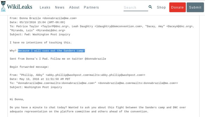 New interim US #DNC Chair Donna Brazile also implicated #DNCLeak https://t.co/WGXESuD6N5  #FeelTheBern #DNCinPHL