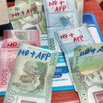 Ahora, a tapar los billetes con un NO + AFP @biobio @latercera @derogarDL3500 @cortenlalesera #NOmasAFP https://t.co/RMffhp3TiT