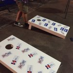 Rigged games @ RNC presser - theres tape over the hole in Sanders cornhole board https://t.co/7z4GUHepbv