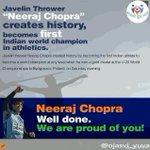Javelin Thrower Neeraj Chopra creates History by setting the World Record. India is proud of you. @narendramodi https://t.co/l5beDOtdwn
