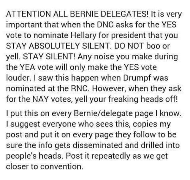 Delegates - Please be silent when DNC asks for a yes vote for $hillary. Please Retweet. #DNCinPHL #Wikileaks #Bernie https://t.co/3rbm63Rbrx