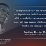 President Duterte on the implementation of Responsible Parenthood and Reproductive Health Law. #SONA2016 https://t.co/5XGHcvdXoi