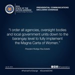 Magna Carta of Women. #DuterteSONA #PartnerForChange https://t.co/uQrqwmZuNm