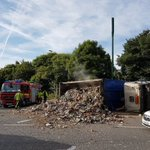 Himley Road blocked due to a lorry overturned at Milking Bank #Dudley Pic: @FireBrierley https://t.co/2kqHJYeySi