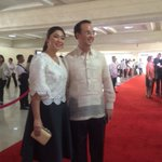 Senator Alan Peter Cayetano arrives w/ wife and Taguig Mayor Lani Cayetano. #Du30SONA2016 (Photo: @PresidentialCom) https://t.co/LeF5bFcgna