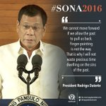 """#PresidentDuterte begins #SONA2016 with this: """"I will not waste precious time dwelling on the sins of the past."""" https://t.co/fqExVBzkxu"""