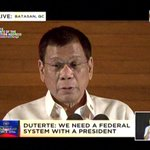 Duterte: We need a federal system with a president. #Du30SONA2016 https://t.co/fDkqXltpGi