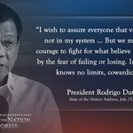 """""""Indeed, courage knows no limits, cowardice does."""" - President Duterte #SONA2016 https://t.co/sDo55hwVGt https://t.co/wf5Ktg71Vv"""
