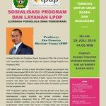 #infoevent Sosialisasi Program dan Layanan @LPDP_RI besok di Ruang Theater @UINarraniry terbuka utk publik. https://t.co/O43qPdGKT9
