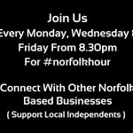 Join us tonight from 8:30pm for the first #norfolkhour of the week, connect and #BeMoreSocial https://t.co/XlEd9ki4gV