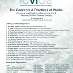 """The Concept & Practice of Works """"Economic & Livelihood Reconstruction & Recovery in Post-Disaster Society"""" #ICAIOSIV https://t.co/0uKRLYb9bY"""