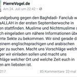 """Pierre Vogel plant in #Bremen eine Kundgebung gegen den """"Islamistischen Staat"""". Absurder wirds heute nicht mehr. https://t.co/8C1eBWZy0B"""
