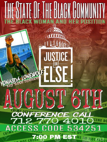 Call in August 6th! let's unite all over the world! keynote address by @queenyonasda #gangup @JusticeOrElse https://t.co/1OhwTiUdop