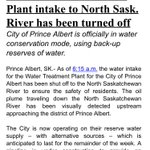 Just now: City of Prince Albert is officially in water conservation mode after oil plume reaches city. @CBCAlerts https://t.co/jQVT1W7IEr