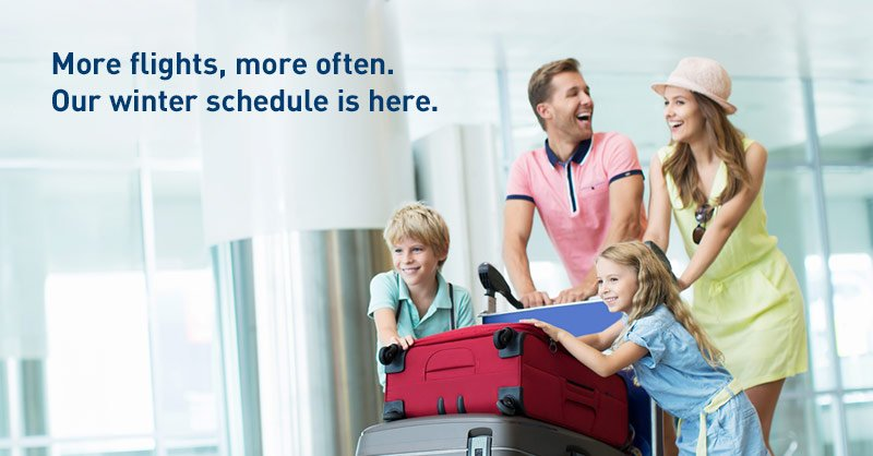 More flights, more often. We're pleased to announce our exciting 2016 winter schedule.